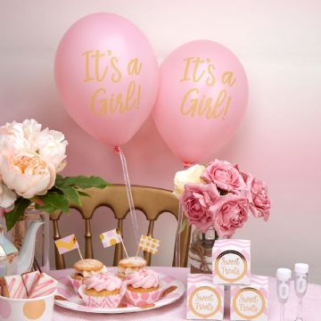 Baby Shower Pink Balloons It's A Girl - pack of 8
